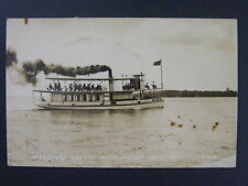 West Okoboji Iowa Ia Queen Passenger Boat Real Photo Postcard Rppc c1930-50