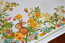 BABY BUNNY & LAMB IN SPRING GARDEN W/ BIRD! VTG GERMAN EASTER PRINT TABLECLOTH
