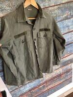 Men's Vintage 1970 Military Green Cotton Sateen Shirt Vietnam OG 107