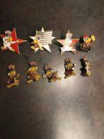 Vintage Rare 1984 LA Olympic label hat pins Uncle Sam bird VTG Lot Of 9