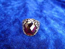 __Anillo noble__Plata 925__con roja Piedra _Cristal facetado___