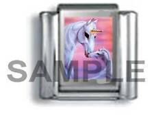 MYTHICAL UNICORN & HER BABY 9MM ITALIAN CHARM LINK fantasy love wish wishes