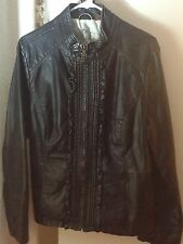 woman leather black jacket size xl