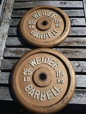 Two (2) 25 Lb Standard Weider Barbell Weight Plates Total 50 Lbs Weights
