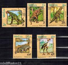 1988 - 5 TIMBRES OBL**// Animaux Préhistoriques - LAOS - Yt.844/48