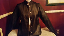 *NEW CHICO'S SZ 1 or 8 10  LEATHER SUEDE BLACK  PURPLE REVERSIBLE JACKET Rt $228