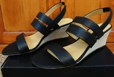 Talbots Royce Sandals Shoes Pebbled Leather Canvas Wedge Black New 9 $139
