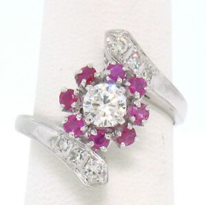 14k White Gold 1.10ctw Diamond & Ruby Ladies Crossover FINE Cocktail Ring