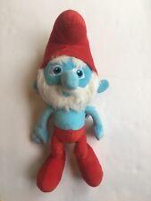 "Papa Smurf Stuffed Plush 15"" Bearded Blue Red"
