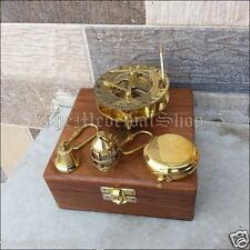 Antique Style Brass Maritime Sundial Compass Wood Box Nautical Gift Set Keychain