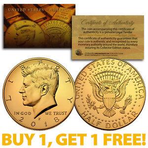2018-P 24K GOLD Gilded JFK Kennedy Half Dollar Coin (P Mint) BUY 1 GET 1 FREE
