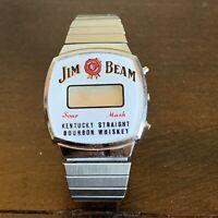 Vintage Jim Beam Bourbon Whiskey Stainless Steele Stretch Band Digital Watch