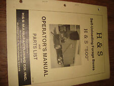 H&S Self Unloading Forage Boxes 500 1987 Operators Manual And Parts List