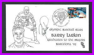 BARRY LARKIN autograph on 1st day cover of 1992 Olympic baseball stamp (SC#2619)