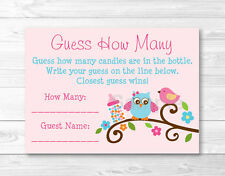 "Sweet Baby Owl Pink Love Bird Baby Shower ""Guess How Many?"" Game Cards"