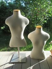 2 Female Mannequin Busts and 1 Stand / Display Seamstress Dress Forms Adjustable