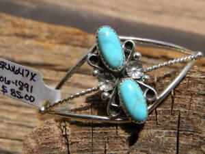 "Sterling silver Navajo bracelet 2 pcs blue turquoise ladies 6"" long 1"" gap"