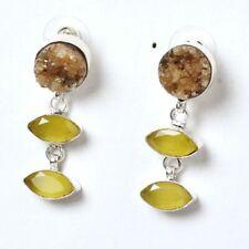 Yellow Onyx,Druzy Antic Handmade Jewelry Earring SS 3509