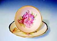 Regency England Bone China Tea Cup & Saucer Pink/Gold Trim/Pink Flower
