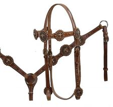 Leather Bridle & Breastcollar Set w/ Vintage Copper Colored Cross Conchos! NEW!