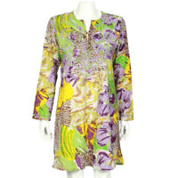 RAJ Indian Floral Purple Yellow Embroidered Cotton Festival Boho Hippie Dress M