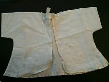 Vintage Infant Ivory Silk and Cotton tie jacket shirt sleeve quilted ducks