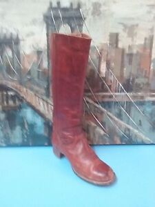 VTG FRYE USA TALL LEATHER  WESTERN BOOTS 7.5 B