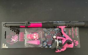 Childs Pink Telescopic Fishing Rod & Pink Fishing Reel With Line Weight +Keyring