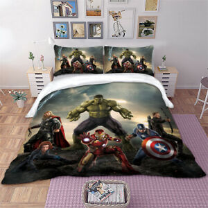 Hulk Superhero Duvet Quilt Cover Kids Bedding Set Pillowcases Single Double King