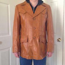 Vintage 1970's Mens Carmel Leather Jacket Coat JC Penney Size 42 Blazer Long