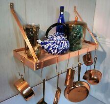 24 W x 10 D x 12 H Wall Shelf Solid COPPER Pot Rack Brushed Finish 8 J Pot Hooks