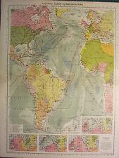 1939 mappa ~ Oceano Atlantico Communications isochronic grafici dei percorsi