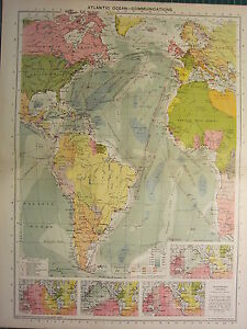 1939 MAP ~ ATLANTIC OCEAN COMMUNICATIONS ISOCHRONIC CHARTS ROUTES