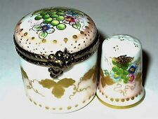 LIMOGES BOX- ROUND FLORAL & MATCHING THIMBLE - FLOWERS & GRAPES - FRUIT - SEWING