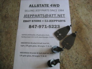 HARDTOP LIFTGATE SHOCK BRACKETS, UPPER & LOWER BOTH SIDES, JEEP WRANGLER TJ