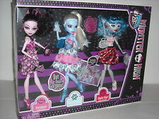 NEW MONSTER HIGH DOT DEAD GORGEOUS DRACULAURA-ABBEY BOMINABLE-GHOULIA YELPS 3PK