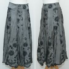 Per Una Grey Embroidered Skirt Size 8 s Flared Metallic