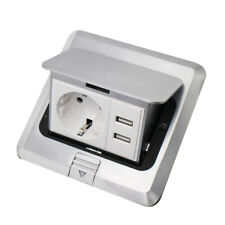 EU Standard Home Use Pop Up Floor Socket + USB Aluminum Electrical Outlet 2 Way