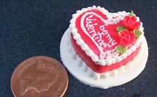 1:12 Scale Heart Shaped Valentines Cake Dolls House Miniature Party Food NC64