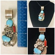Navajo Kenneth Jones Large Sterling Silver Red Coral Turquoise Pendant