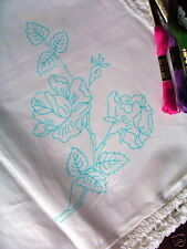 Printed to Embroider table cloth English rose tablecloth cotton flower lace edge
