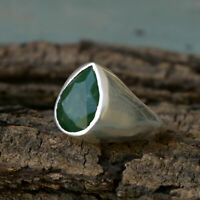 925 Sterling Silver Natural Colombian Emerald Pear Shape Birthstone Ring Gift