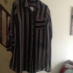 Ladies YOURS Tunic/Top/Blouse Black,Red & White see through  Size 20 New