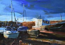 Jeremy Sanders Original Oil Painting - Boats At Newlyn Cornwall - Cornish Art