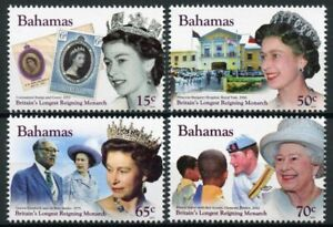 Bahamas Royalty Stamps 2015 MNH Queen Elizabeth II Longest Reign Monarch 4v Set