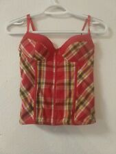 Corset Top Blouse, Red, Small, Womens