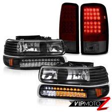 2000-2006 Tahoe LT Black SMD Signal Bumper Headlights+Smokey Red LED Tail Lights