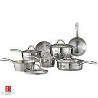 12 Piece Tri-Ply Clad Cookware Set Stainless Steel Silver Gourmet Tempered Glass
