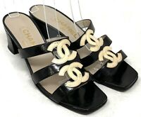 Authentic CHANEL Vintage Coco Mark Sandals Mules Heels #37 US 6.5 Black Beige