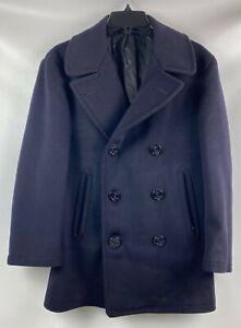Vintage 50s Korean War Era USN US Navy Blue Wool Pea Coat Peacoat Mens Size 38